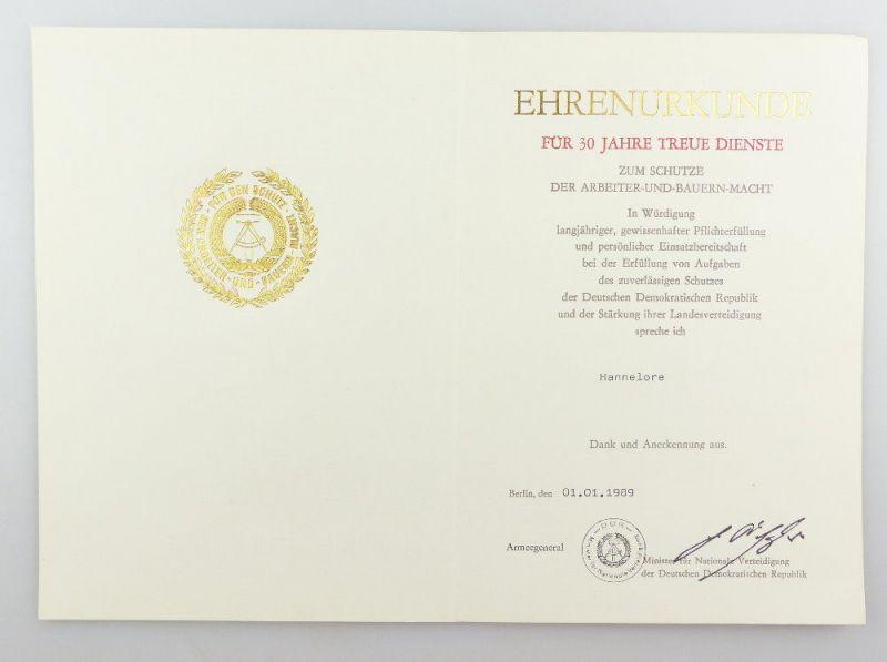 #e3422 DDR Ehrenurkunde für 30 Jahre treue Dienste Nationale Verteidiging 1989