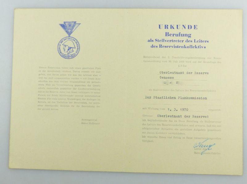 #e3409 Urkunde Berufung NVA Oberleutnant Staatliche Plamkommission 1970 DDR