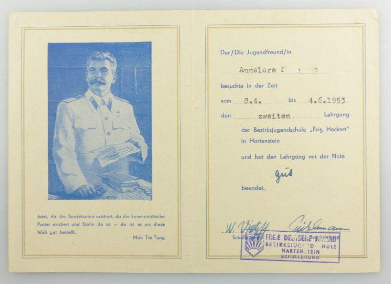 #e3404 Urkunde / Zeugnis 1953 zweiter Lehrgang Bezirksjugendschule Fritz Heckert