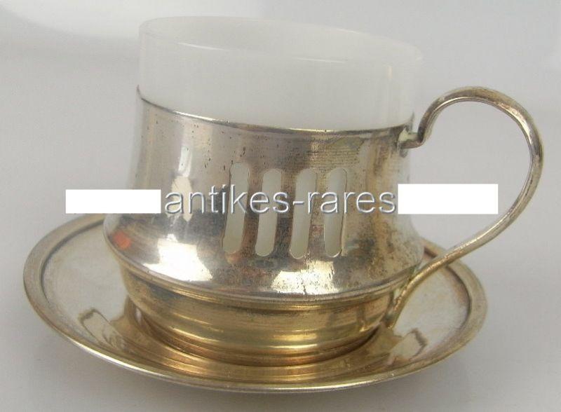 Alte Teetasse mit Untersetzer in 800 (Ag) Silber, Krakau, Polen