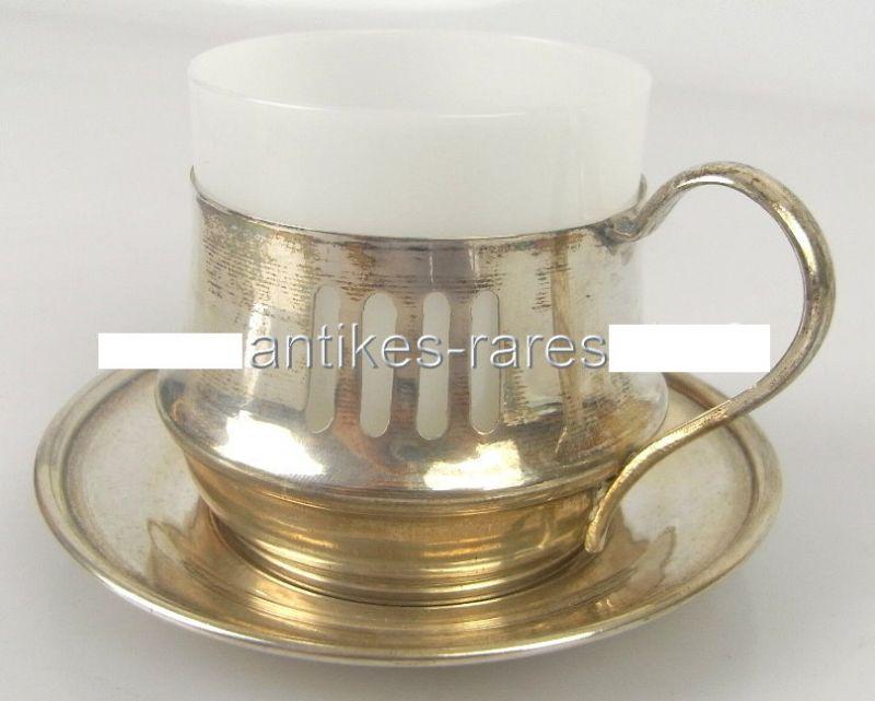 Alte Teetasse mit Untersetzer in 800 (Ag) Silber, Krakau Polen