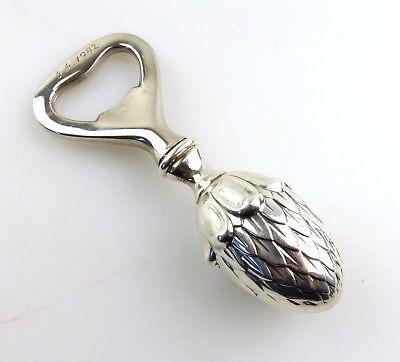 #e8237 Flaschenöffner mit Tannenzapfen Griff aus 835 Silber 6.6.1982 Gravur