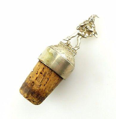 #e8229 Alter Flaschenverschluss mit 800 Silber Aufsatz Rattenfänger zu Hameln