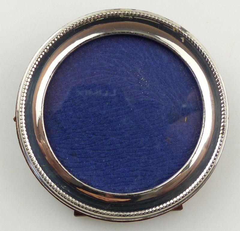 #e8226 Kleiner runder Bilderrahmen aus 800 Silber und Holz made in Italy