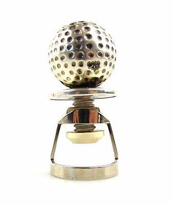 #e8225 Alter Flaschenverschluss aus Kork, Metall und 925 Silber Golfball