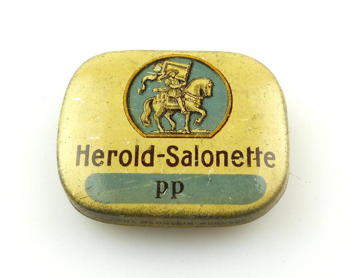 #e8255 Original Blechdose Herold-Salonette PP mit Grammophon Nadeln aus Nürnberg
