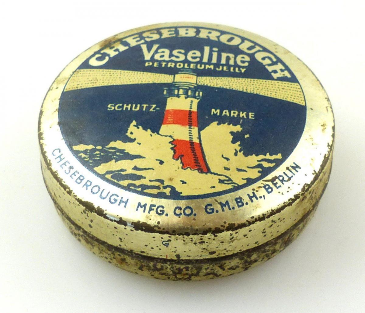 #e8254 Original alte Blechdose Chesebrough Vaseline Petroleum Jeily um 1920