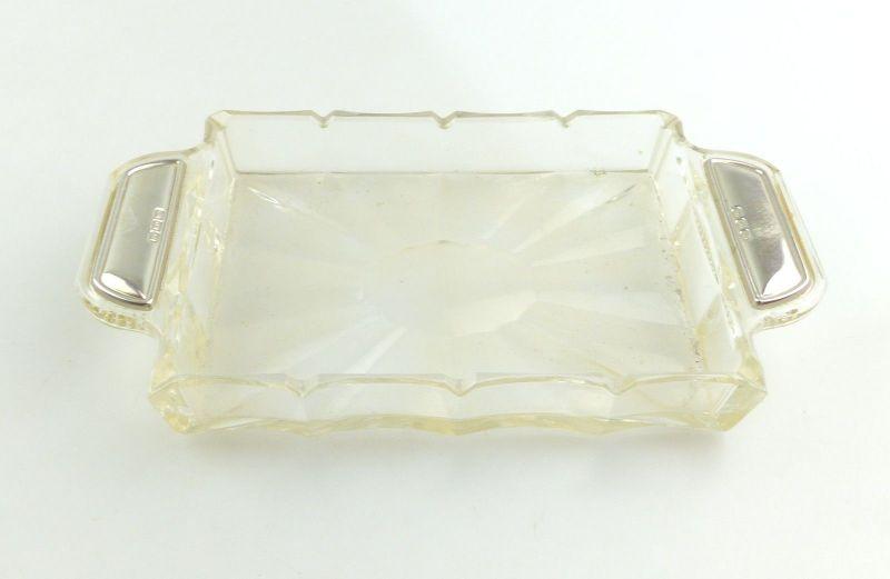 #e8354 Schale / Behälter aus Glas mit 800er Silberauflage an den Griffen