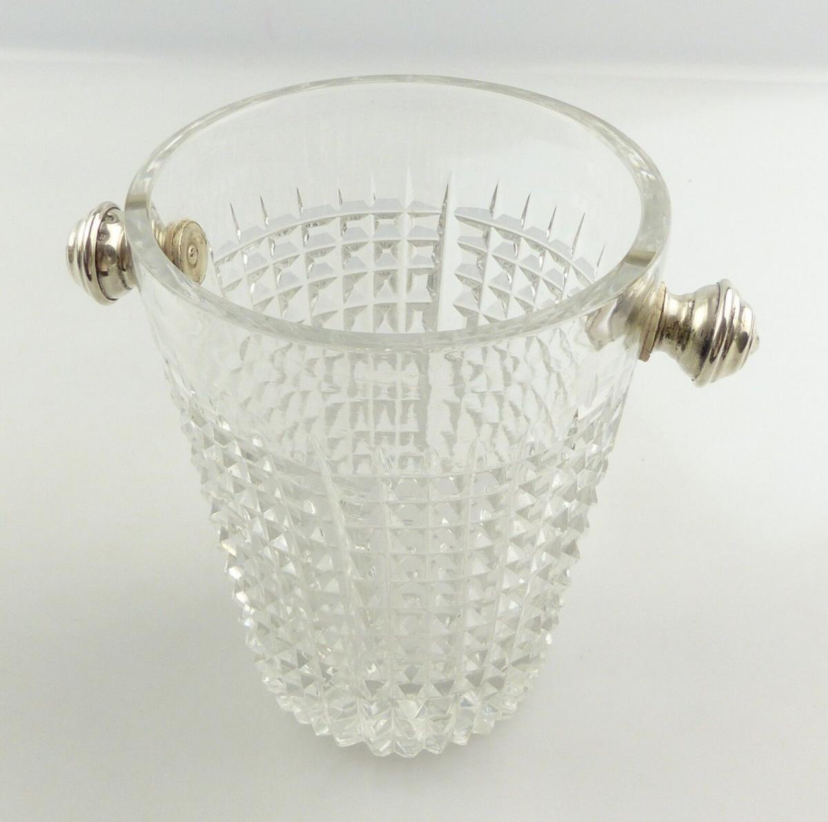 #e8350 Eisbehälter aus Glas mit Griffen aus Silber