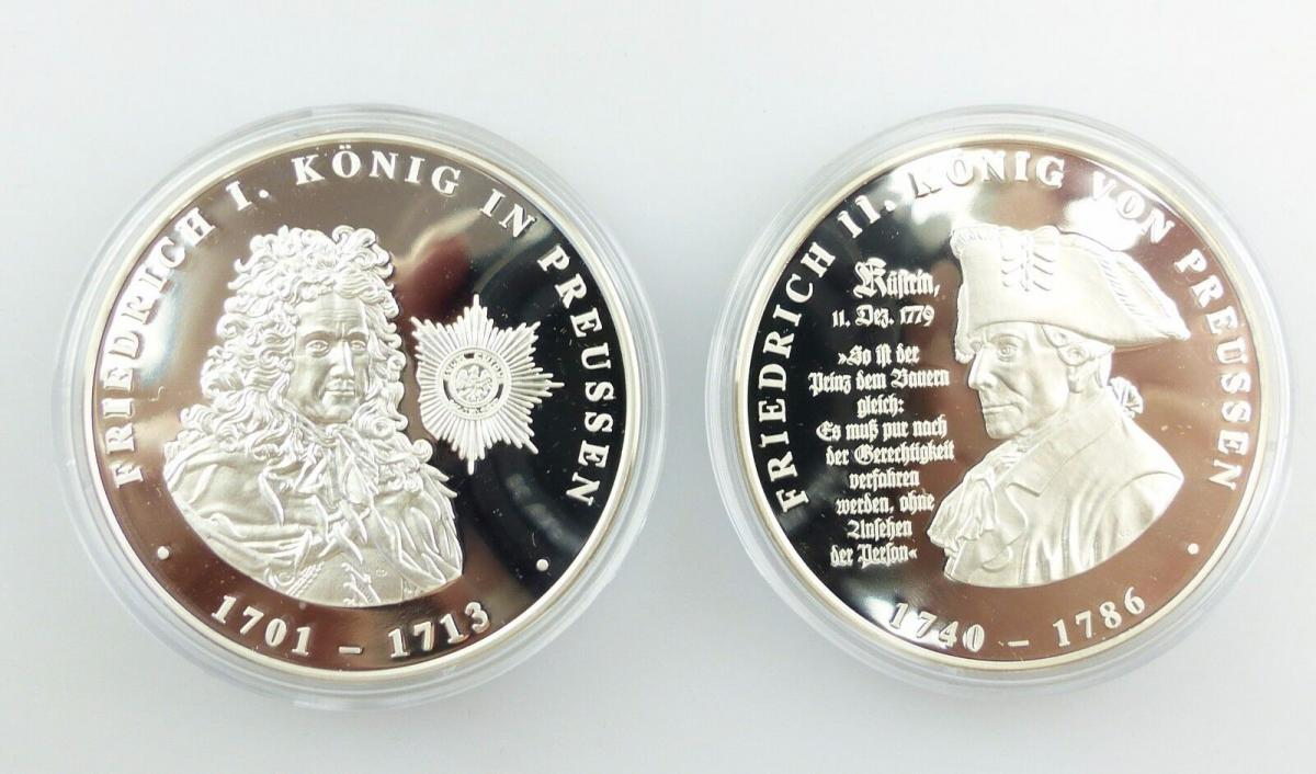 E7715 2 Münzen 999 Silber 300 Jahre Preußen König Friedrich I Und Ii Pp