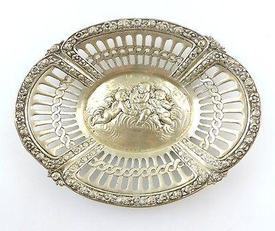 #e8568 Feine Gründerzeit Schale mit Putten & Rosen aus 800 (Ag) Silber