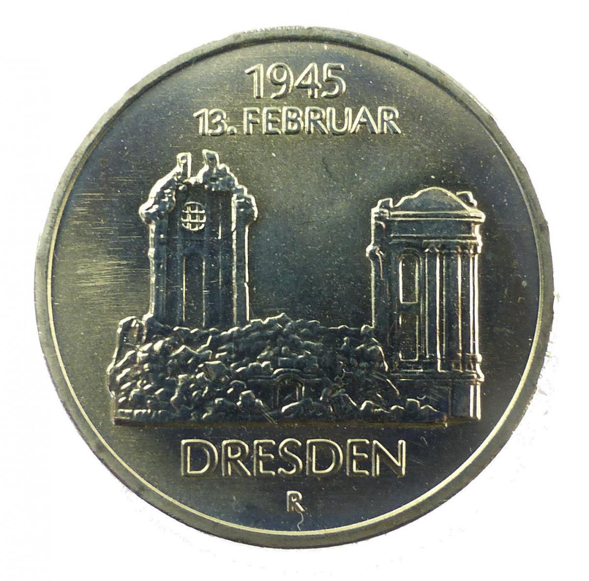 #e8663 DDR 5-Mark-Gedenkmünze von 1985 - Dresden 1945 13. Februar - R