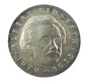 #e8662 DDR 5-Mark-Gedenkmünze von 1979 - Albert Einstein 1879-1955