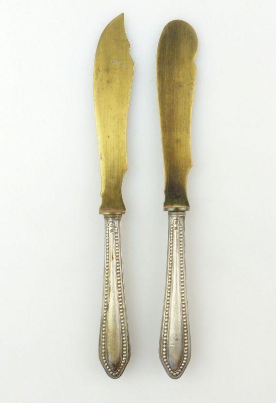 #e8811 2 alte Vorleger mit Griffen aus 800 Silber (Vorderteile aus Messing)