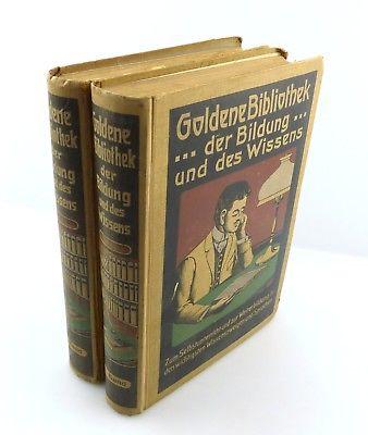 #e8763 2 Bücher: Goldene Bibliothek der Bildung und des Wissens Selbstunterricht