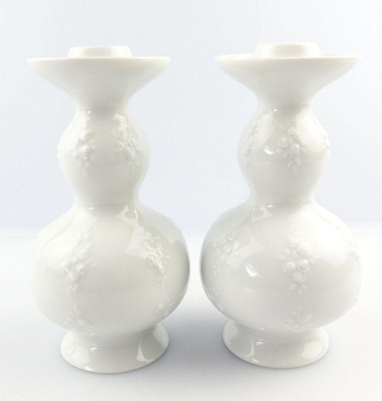#e3851 2 kleine Wallendorfer Porzellan Kerzenständer mit Blumendekor