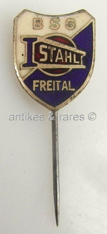 DDR Fußball Anstecknadel: BSG Stahl Freital