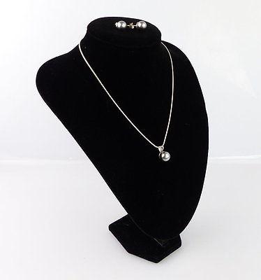 #e2151 Perlen Ohrstecker und dazu passende Kette mit Perle in 925er Silber