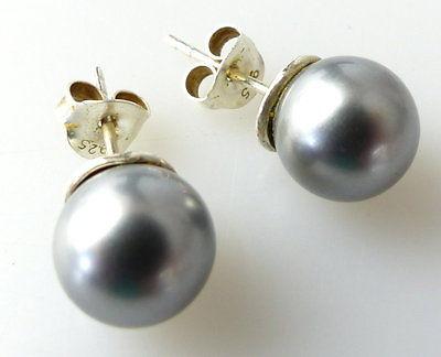 #e2151 Perlen Ohrstecker und dazu passende Kette mit Perle in 925er Silber 7