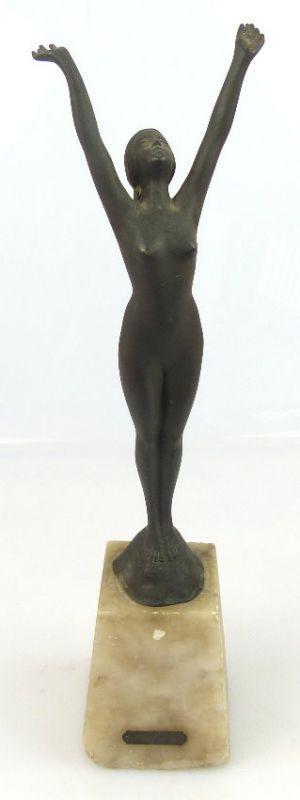 Alte Jugendstil Bronze zum Andenken weiblicher Akt, unsigniert (so091)