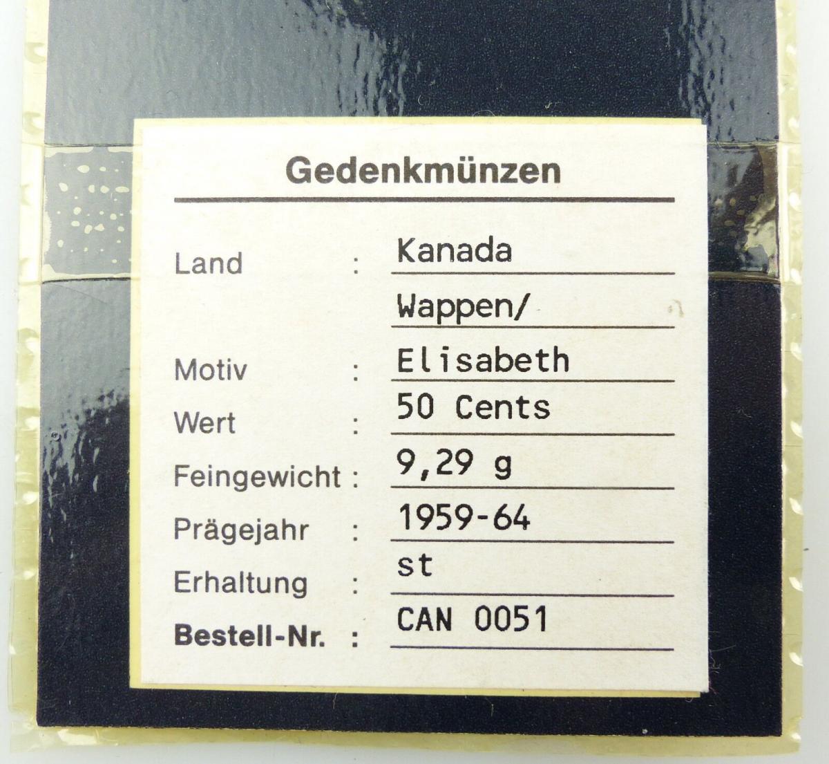 E8957 Gedenkmünze Münze Kanada 50 Cents 1959 64 Stempelglanz