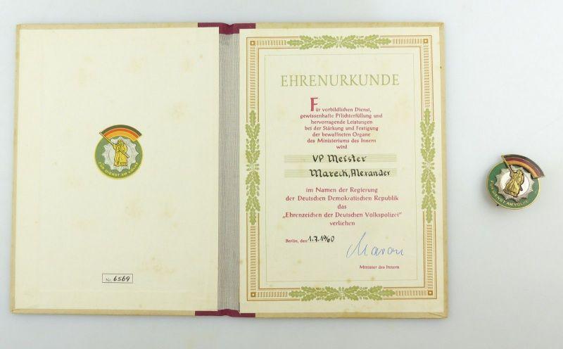 E9152 VP Meister A. Mareck Ehrenzeichen der Deutschen Volkspolizei mit Urkunde