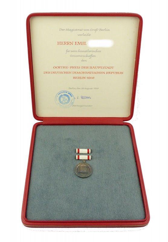E9116 Original Goethe-Preis Berlin 1968 DDR mit Urkunde Selten! 900er Silber