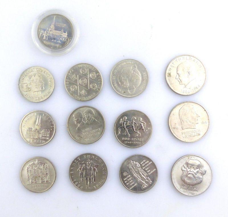 E9101 13 alte DDR Münzen (insgesamt 140 DDR Mark) z.B. Ernst Thälmann