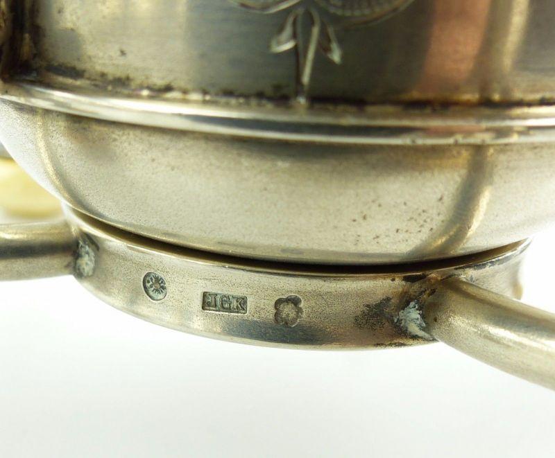 #e5212 Großes 800 (Ag) Silber Kernstück / Service mit Wasserkessel J.C.Klinkosch 3