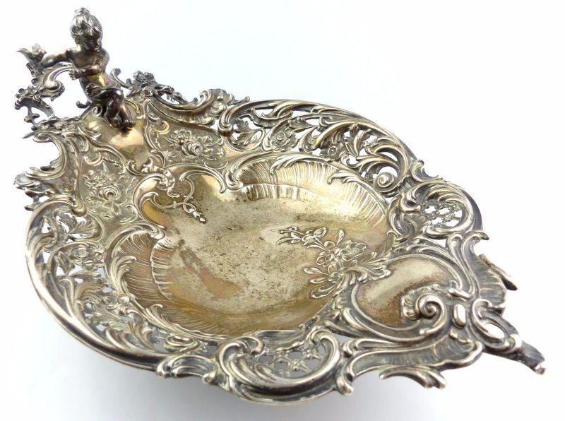 #e5211 Große dekorative Gründerzeit Schale mit Putto / Engel aus 800 (Ag) Silber