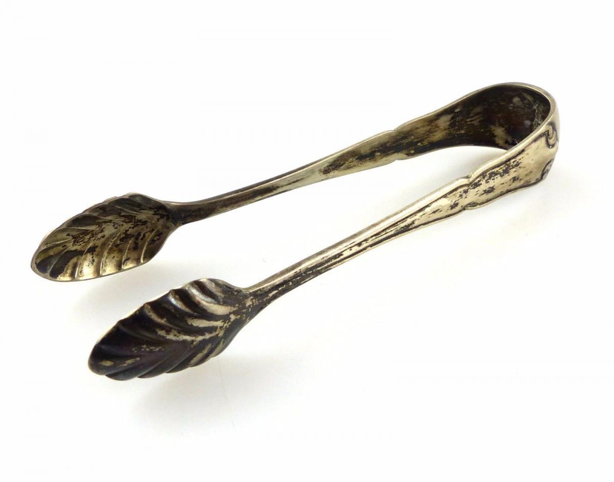 #e6010 Alte handgefertigte Zuckerzange aus 800er Silber