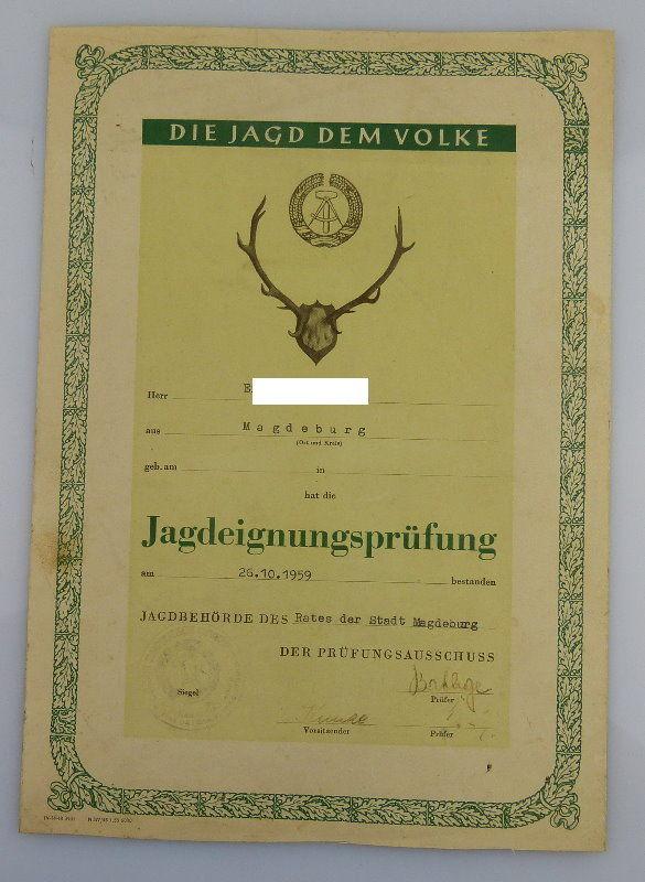 Urkunde: Bestandene Jagdeignungsprüfung, verliehen 1959, Orden1922