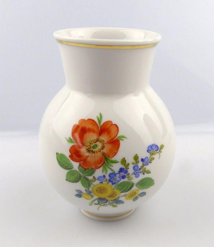 #e5993 Vase / Blumenvase Meissen Porzellan Blumen & Goldrand 1. Wahl