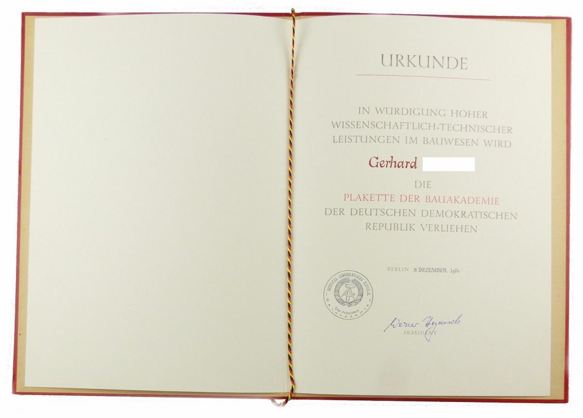 #e6676 DDR Urkunde Leiter der Abteilung Bauwesen der ZK der SED Berlin 1976