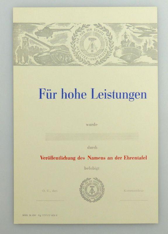 Blanco Urkunde: Belobidung Für hohe Leistungen DDR, so282