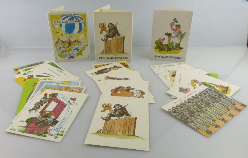 3 Postkartenserien: 30 Postkarten mit Zeichnungen, Militärverlag der DDR, so324