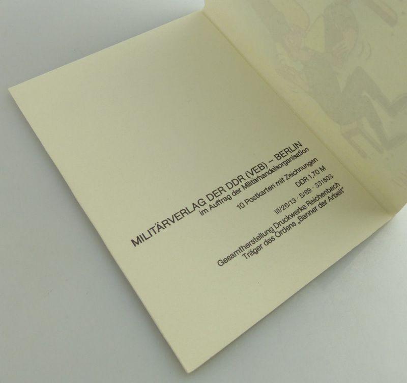 Postkartenserie: 10 Postkarten mit Zeichnungen, Militärverlag der DDR, so323 1