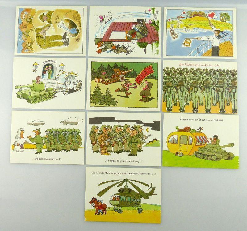 Postkartenserie: 10 Postkarten mit Zeichnungen, Militärverlag der DDR, so323 3