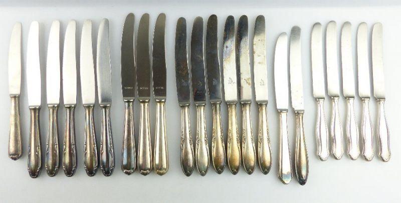 22 original alte Messer in 90er /100er /30er Silberauflage e1088