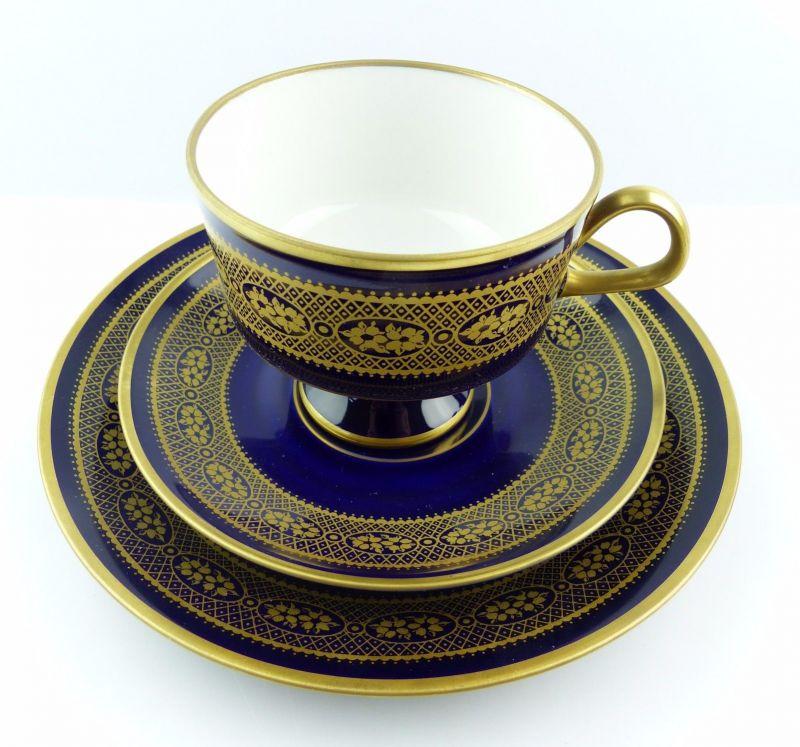 #e5160 Kaffeegedeck von Lichte DDR Echt Kobalt mit Gold Dekor