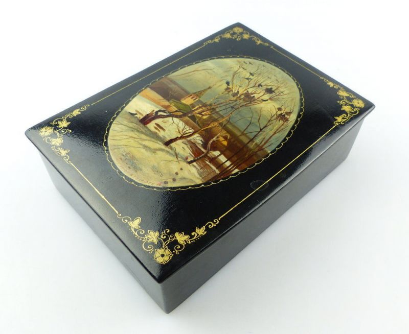#e3707 Alte russische Dose / Truhe / Schachtel mit Lackmalerei signiert von 1959