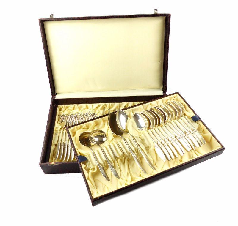 #e6646 Essbesteck in 40er Silberauflage für 12 Personen mit Vorlegern (41 Teile)