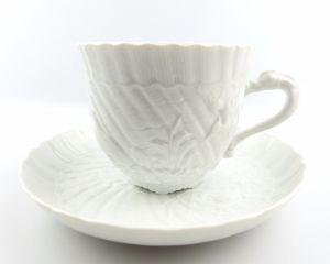 #e5143 Schwanenservice Meissen Porzellan Kaffeepott & Untertasse weiß 2. Wahl