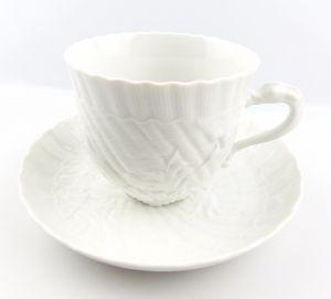 #e5142 Meissen Porzellan Kaffeepott & Untertasse Schwanenservice weiß 2. Wahl
