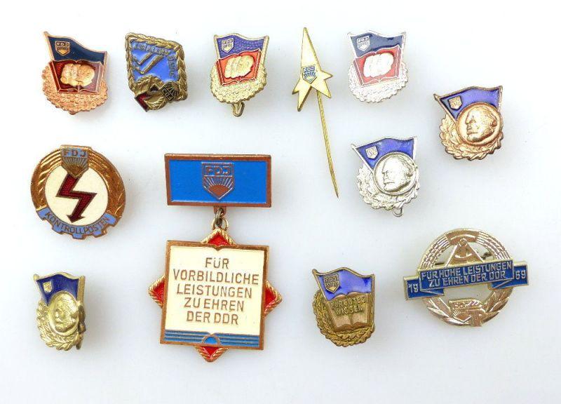 #e4627 Konvolut 12 verschiedene Abzeichen der FDJ Freie Deutsche Jugend DDR