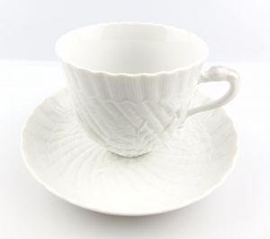 #e5140 Meissen Porzellan Kaffeepott & Untertasse Schwanenservice weiß 2. Wahl