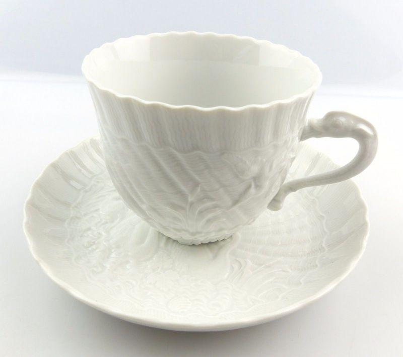 #e5138 Meissen Porzellan Kaffeepott & Untertasse Schwanenservice weiß 2. Wahl