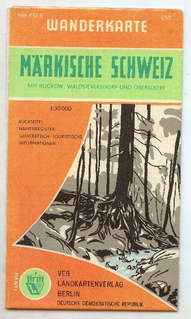 Wanderkarte Märkische Schweiz 1:30000 VEB Landkartenver