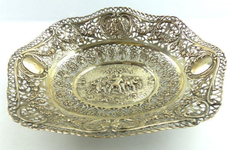 Dekorative Schale in 800 (Ag) Silber mit Blumendekor und Kindern e1404