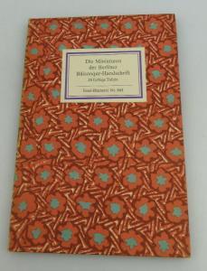 Insel Bücherei: Inselbuch Nr.865 Die Miniaturen der Berliner Handschrift bu0576